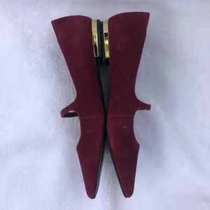 Aldo Maroon Suede Pointy Toe Mary Jane Loafers